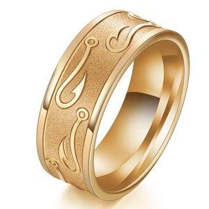 8mm Gold Rhodium Plated Ring W/Hook Pattern Sz 11
